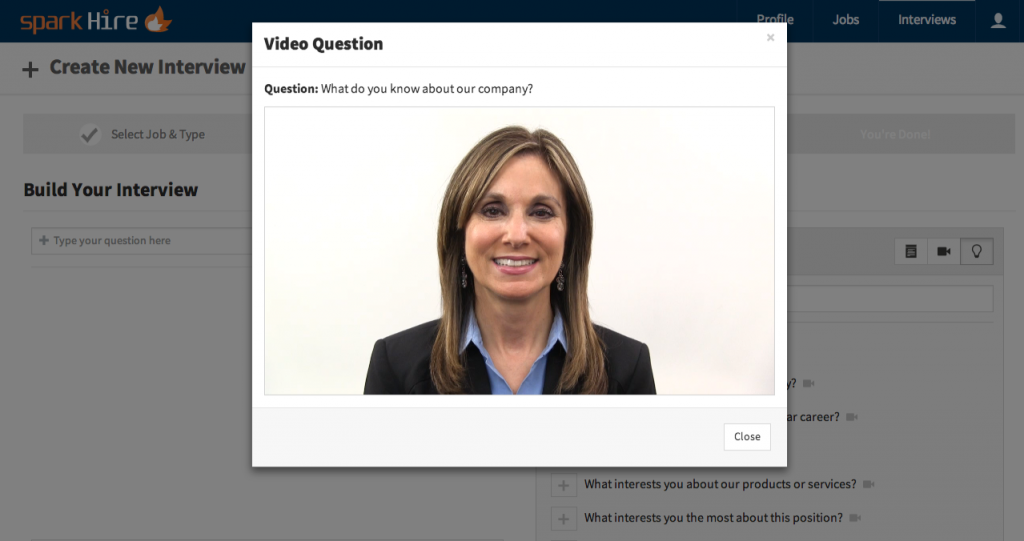 Spark Hire Video Question Feature