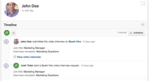 Spark Hire video interview results in Workable